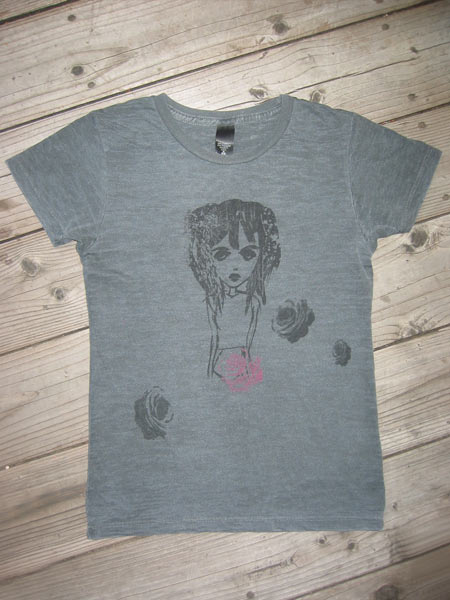 distressed goth girl burnout (black) :  goth short-sleeve furlesque funky