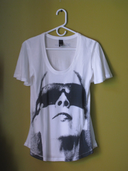 Furlesque Sunglass Girl white tee from furlesque.com